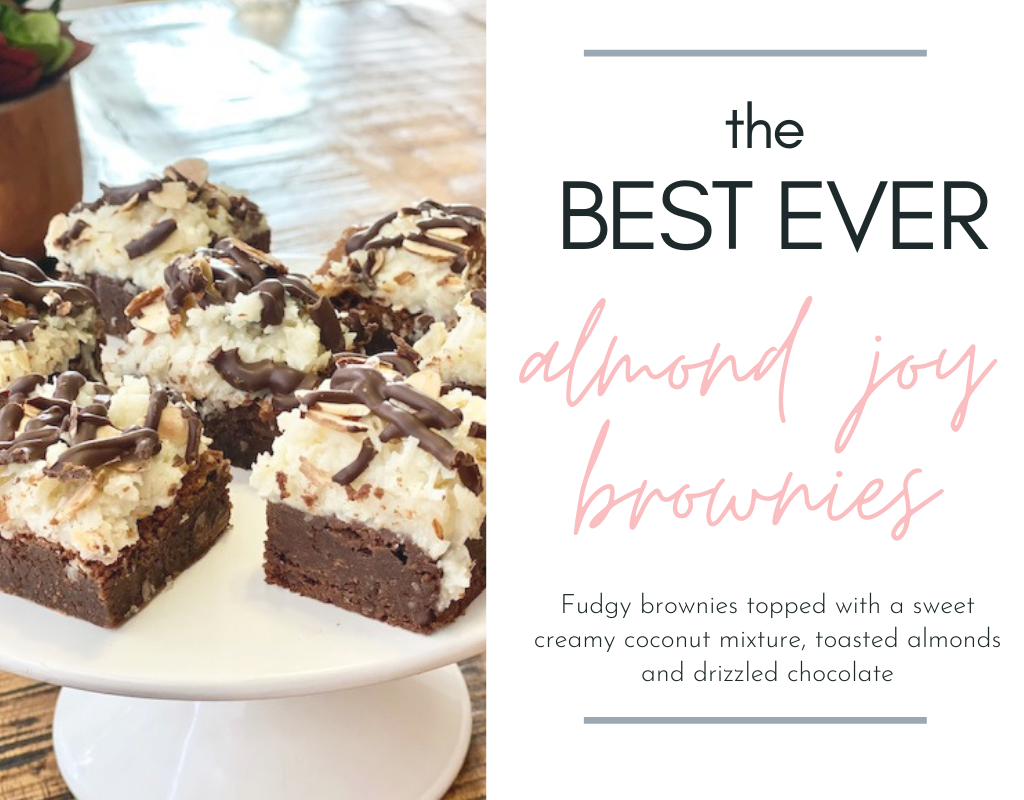 Charlotte and I made the BEST EVER Almond Joy brownies- fudgy brownies topped with a sweet creamy coconut mixture, toasted almonds and drizzled chocolate. YUM!