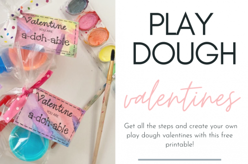 A-doh-able, watercolor valentine tags! Get all the steps and create your own play dough valentines with this free printable!