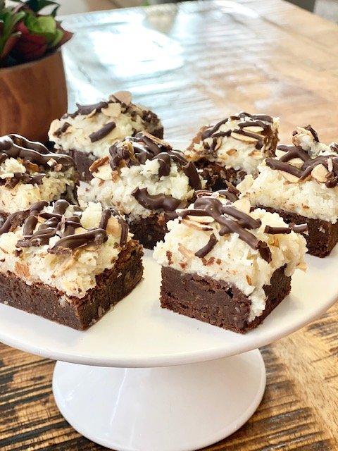 The best ever almond joy brownies look beautiful displayed