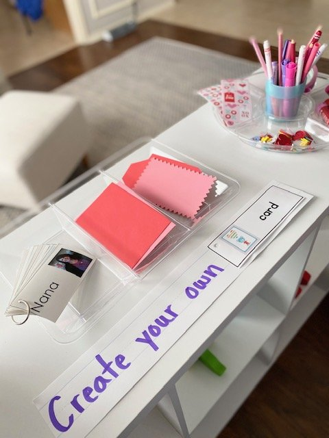 the set up for the invitation to create valentines activity